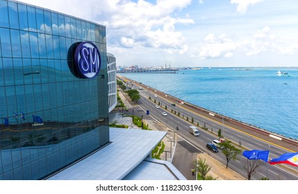 Cebu City, Philippines - August 25, 2016: View of SM Seaside City and the Sea