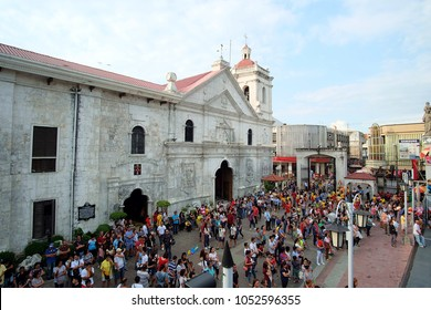CEBU CITY, PHILIPPINES – DECEMBER 08, 2017: Cebuano attend the Holy Day of Obligation for the Solemnity of Immaculate Conception of Mary Day at the Basilica del Santo Nino in Cebu City, Philippines.
