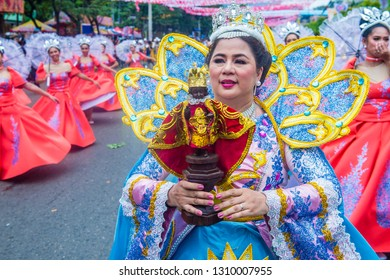 CEBU CITY , PHILIPPINES - JAN 20 : Participant in the Sinulog festival in Cebu city Philippines on January 20 2019. The Sinulog is an annual religious celebrations in the Philippines.