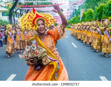 CEBU CITY , PHILIPPINES - JAN 20 : Participants in the Sinulog festival in Cebu city Philippines on January 20 2019. The Sinulog is an annual religious celebrations in the Philippines.