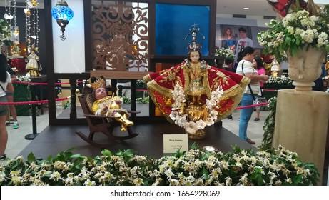 CEBU CITY, CEBU PHILIPPINES - JANUARY 19, 2019: Santo Nino statues on display