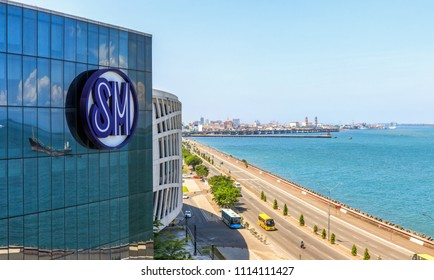 Cebu City, Philippines - June 13, 2018: View of SM Seaside City and the Sea