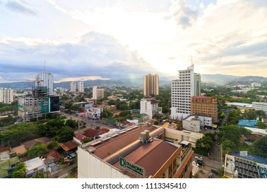 Cebu City, Philippines - June 14, 2018: View Of Buildings In Cebu City During Sunrise