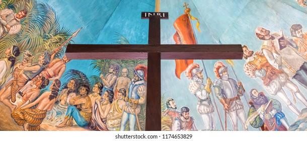 Cebu City, Philippines - June 15, 2018: Magellan's Cross In Cebu City