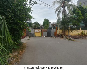 CEBU CITY, CEBU PHILIPPINES - March 28, 2020: Barricade or street blockade during enhanced community quarantine