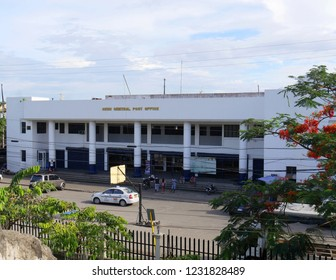 CEBU CITY, PHILIPPINES--MARCH 2018: Façade of the Cebu Central Post Office, with people and cars outside.