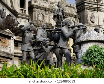 CEBU CITY, PHILIPPINES--MARCH 2018:  Close up of the sculptures at the Heritage of Cebu Monuments, one of the top tourist attractions in Cebu City.