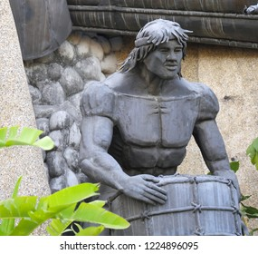 CEBU CITY, PHILIPPINES--MARCH 2018:  Close up of a sculpture at the Heritage of Cebu Monuments, one of the top tourist attractions in Cebu City.