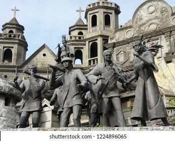 CEBU CITY, PHILIPPINES--MARCH 2018: Medium close up of the sculptures at the Heritage of Cebu Monuments, one of the top tourist attractions in Cebu City.