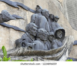 CEBU CITY, PHILIPPINES--MARCH 2018:  Sculptures at the Heritage of Cebu Monuments, one of the top tourist attractions in Cebu City.