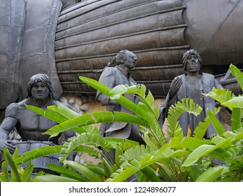 CEBU CITY, PHILIPPINES--MARCH 2018:  Scultpures at the Heritage of Cebu Monuments that tells of Cebu City's beginnings