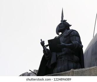 CEBU CITY, PHILIPPINES--MARCH 2018:  Statue at the Heritage of Cebu Monuments that tells of Cebu City's beginnings.