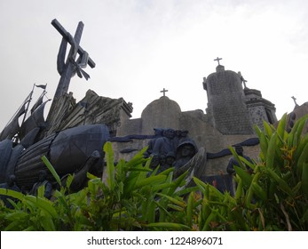 CEBU CITY, PHILIPPINES--MARCH 2018:  Upward shot of the Heritage of Cebu Monuments that tells of Cebu City's beginnings. It is a top tourist attraction in Cebu City.