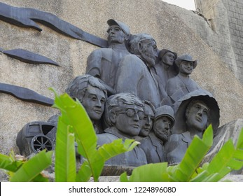 CEBU CITY, PHILIPPINES--MARCH 2018:  Upward shot of the sculptures at the Heritage of Cebu Monuments, one of the top tourist attraction in Cebu City.