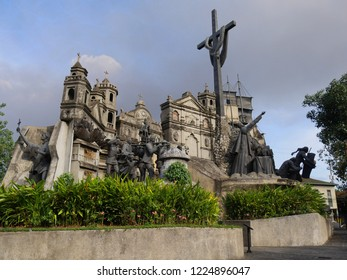 CEBU CITY, PHILIPPINES--MARCH 2018:  Wide shot of the Heritage of Cebu Monuments, one of the top tourist attraction in Cebu City.