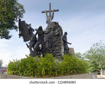 CEBU CITY, PHILIPPINES--MARCH 2018: Wide shot of sculptures at the Heritage of Cebu Monuments surrounded by greenery, one of the top tourist attractions in Cebu City.
