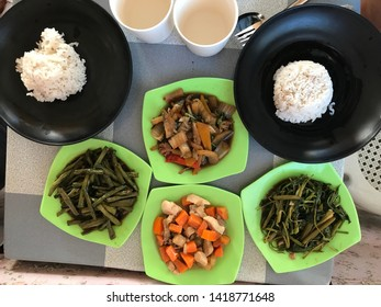 Cebu Island, Phlippines - 04 10 2019: Local Filipino food in a local eatery
