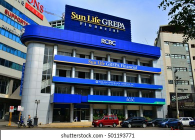 CEBU, PH - OCT. 11: Sun Life Grepa Financial facade on October 11, 2016 in Cebu City, Philippines. Sun Life is a Canada-based financial services company known primarily as a life insurance company.