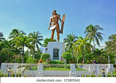 CEBU, PH - OCT. 8: Lapu Lapu Shrine on October 8, 2016 in Mactan Island, Cebu, Philippines. The Lapu Lapu shrine is a 20 meter bronze memorial statue erected on Mactan Island, Cebu, Philippines.