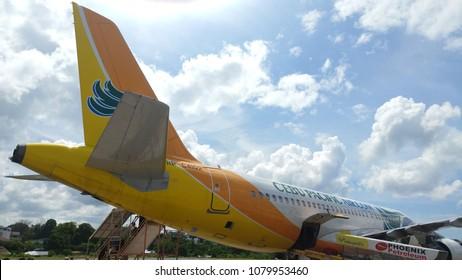 cebu, Philippines - 23 MAR 2018: Cebu airplane cebu pacific Air with clean sky.