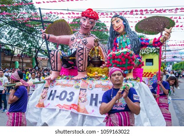 CEBU , PHILIPPINES - JAN 21 : Giant Puppets at the Sinulog festival in Cebu  Philippines on January 21 2018. The Sinulog is the centre of the Santo Nino Catholic celebrations in the Philippines.
