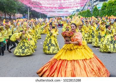 CEBU, PHILIPPINES - JAN 21 : Participants in the Sinulog festival in Cebu Philippines on January 21 2018. The Sinulog is the centre of the Santo Niño Catholic celebrations in the Philippines.