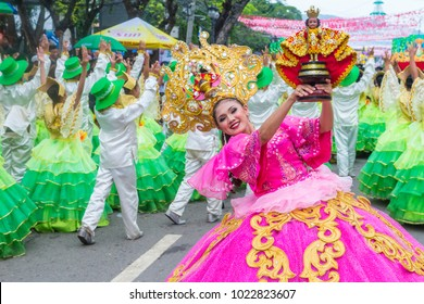 CEBU, PHILIPPINES - JAN 21 : Participants in the Sinulog festival in Cebu Philippines on January 21 2018. The Sinulog is the centre of the Santo Nino Catholic celebrations in the Philippines.