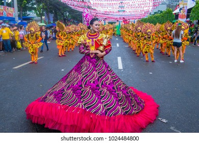 CEBU, PHILIPPINES - JAN 21 : Participants in the Sinulog festival in Cebu Philippines on January 21 2018. The Sinulog is the centre of the Santo Niño Catholic celebrations in the Philippine