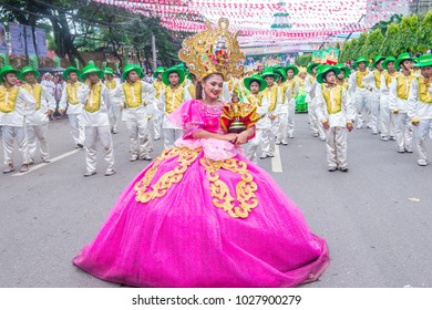 CEBU , PHILIPPINES - JAN 21 : Participants in the Sinulog festival in Cebu Philippines on January 21 2018. The Sinulog is the centre of the Santo Nino Catholic celebrations in the Philippin