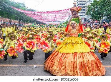 CEBU , PHILIPPINES - JAN 21 : Participants in the Sinulog festival in Cebu, Philippines on January 21 2018. The Sinulog is the centre of the Santo Nino Catholic celebrations in the Philippines.