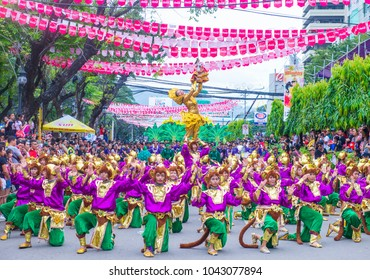 CEBU  , PHILIPPINES - JAN 21 : Participants in the Sinulog festival in Cebu Philippines on January 21 2018. The Sinulog is the centre of the Santo Nino Catholic celebrations in the Philippines.