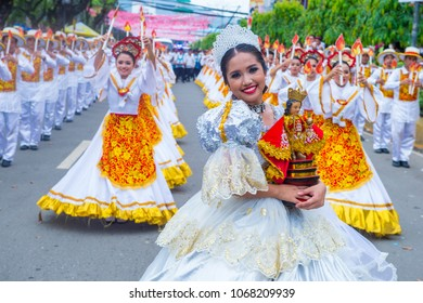 CEBU , PHILIPPINES - JAN 21 : Participants in the Sinulog festival in Cebu city Philippines on January 21 2018. The Sinulog is the centre of the Santo Nino Catholic celebrations in the Philippines.