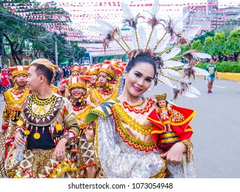 CEBU , PHILIPPINES - JAN 21 : Participants in the Sinulog festival in Cebu city Philippines on January 21 2018. The Sinulog is the centre of the Santo Niño Catholic celebrations in the Philippines.