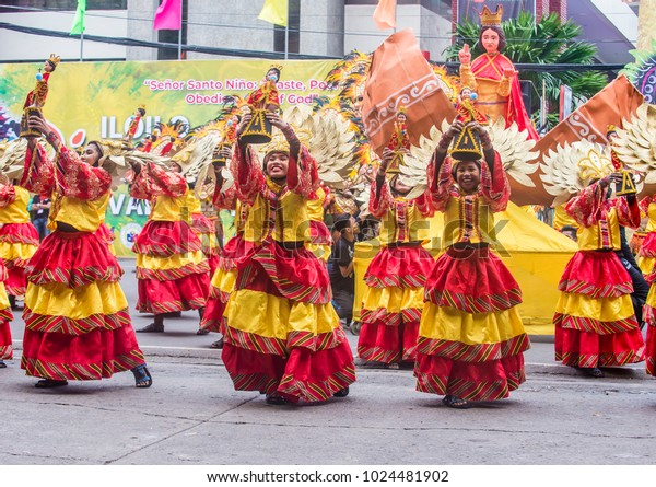 Cebu Philippines Jan 21 Participants Sinulog Stock Photo