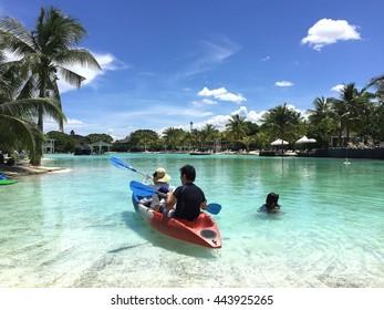 Cebu, Philippines, - JUNE 17, 2016: View of Plantation Bay Resort and Spa Resort in Cebu, Philippines