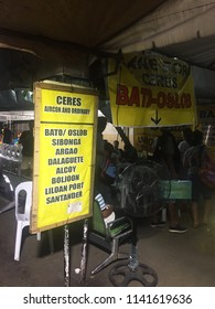 CEBU, PHILIPPINES - JUNE 18, 2018: Signage at Southern bus terminal of Cebu Island in Philippines with destination to Oslob.