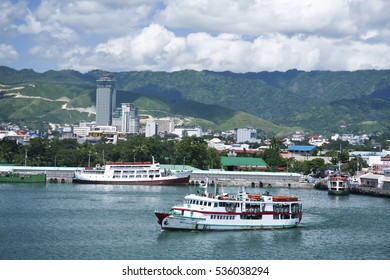 Cebu, Philippines -Oct 28, 2008: Ferries at  cebu seaport cebu city in the Philippines.  The busy port of cebu has ferry routes to most islands in the philippines due to its central location.