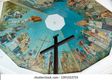 Cebu, Philippines - September 29, 2018: Magellan's Cross at Cebu City, Philippines. Christian cross set by Magellan when arriving at Cebu island. Popular tourist attractions