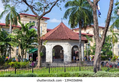 Cebu, Philippines - September 29, 2018: Chapel where the Magellan's Cross is kept at Cebu City, Philippines. Christian cross set by Magellan when arriving at Cebu island. Popular tourist attractions