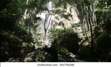 CEBU, PHILLIPINES - CIRCA January 2018 :Beautiful Tumalog waterfalls and bamboo trees on a beautiful day