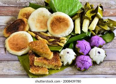 Cebuano Delicacies: A Flat Lay of defferent Cebuano Delicacies, from Biko ,Budbud ,Puto and Bibingka