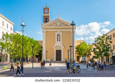 CECINA,ITALY - SEPTEMBER 18,2018 - View at the church of Saints Giuseppe and Leopold in Cecina. Cecina lies in the Province of Livorno in the Italian region Tuscany.