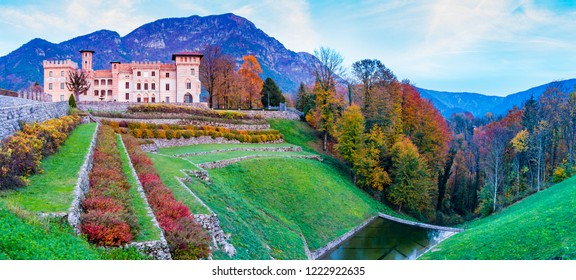 Ceconi Castle in an enchanted autumnal landscape at sunset in the forest of Pielungo, Vito d'Asio, Pordenone, Friuli, Italy