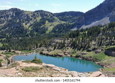 Cecret Lake in a glacial bowl in the Wasatch Mountain Range of Utah