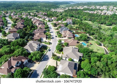 Cedar Park , Texas a suburb of Austin, TX aerial drone amazing view Suburban Luxury Homes in Spring time green aerial drone view of Suburb Houses and suburbia neighborhood near Lake Travis