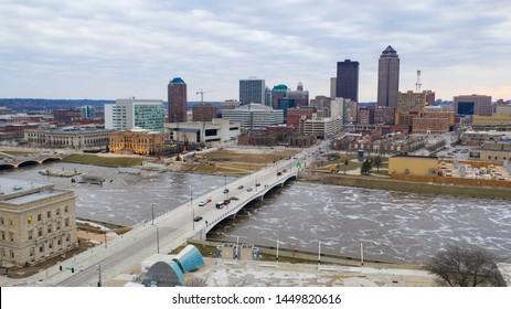 Cedar Rapids Iowa has flood water moving thru on the Cedar River in May of 2019
