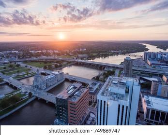 Cedar Rapids Skyline Sunset