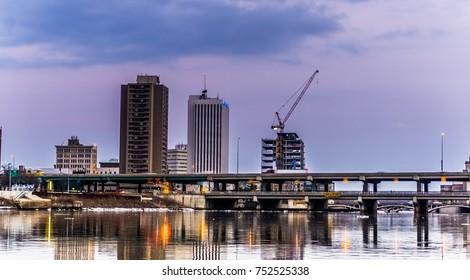 Cedar Rapids Skyline with water