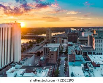 Cedar Rapids Sunsets Downtown