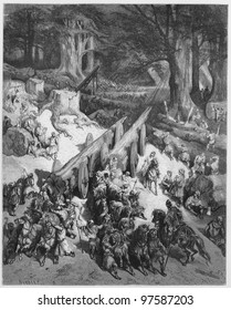 Cedars are cut down for the temple - Picture from The Holy Scriptures, Old and New Testaments books collection published in 1885, Stuttgart-Germany. Drawings by Gustave Dore.